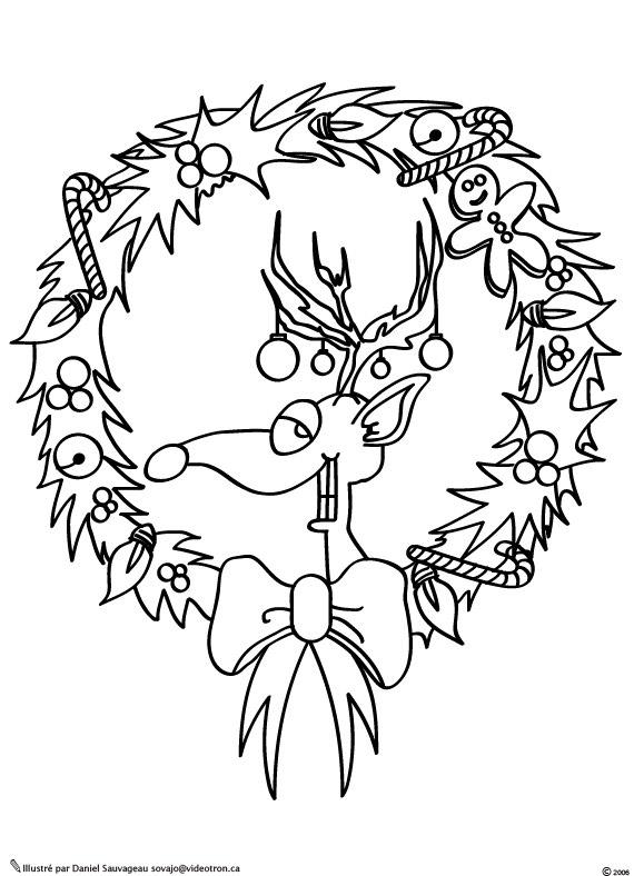 Coloriage couronne - Couronne de noel a colorier ...